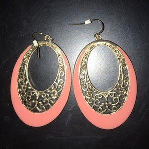 Peach enamel with gold filigree earrings